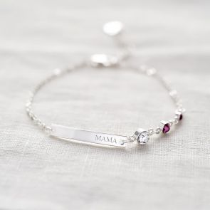 Personalised Name Bar Family Birthstone Bracelet
