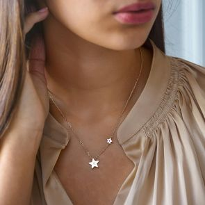 Rose Gold My Lucky Star Birthstone Personalised Necklace