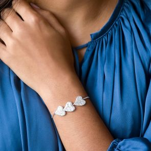 Personalised Triple Heart Slider Bracelet