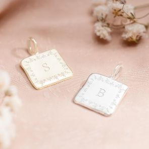 Sterling Silver Square Pendant In Gold and Silver Personalised with a Floral Border and a Classic Initial