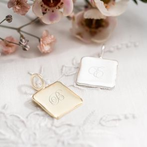 Sterling Silver Pendant in Silver and gold Personalised with a Regency Script Initial