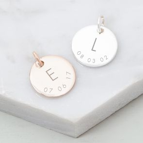 Add a Personalised Sterling Silver Initial And Date Charm