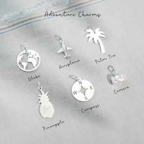 Sterling Silver Adventure Charms available in; Globe, Aeroplane, Palm Tree, Pineapple, Compass, and Camera Shapes