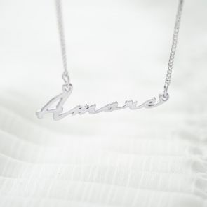 "Sterling Silver Script Pendant reading ""Amore"" on Silver Chain"