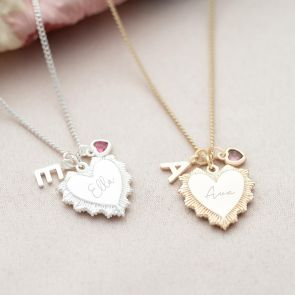 Vintage Heart Charm with Birthstone and Heart Birthstone in Silver and Champagne Gold