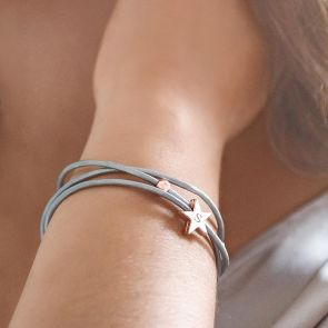 Arlena Multi Wrap Leather Star Personalised Bracelet