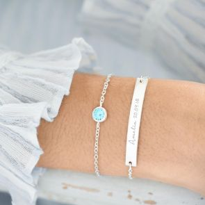 Bar And Birthstone Personalised Bracelet Set