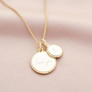 Bead Edge Family Disc Personalised Message Necklace