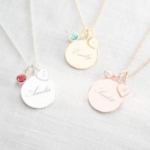 Birthstone, Heart and Disc Necklace in Silver with a Ruby Birthstone