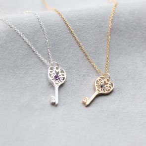 Gold and Silver Sterling Silver Key Charms on Trace Necklace Chain with embed Birthstone Charms