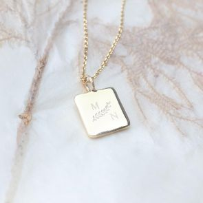Gold Plated Sterling Silver Square Pendant Personalised with Two Classic Initials
