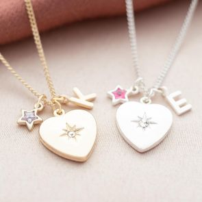 crystal heart pendant necklace available in silver and gold