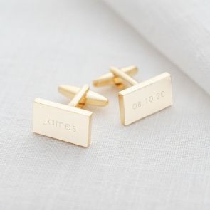 Contemporary Personalised Silver Cufflinks