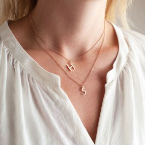 Sterling Silver Contemporary Style Letter Pendant Layered Necklace Set