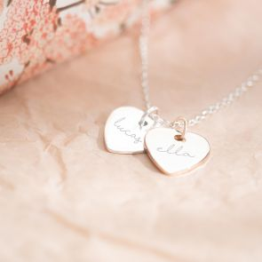 Couple's Double Heart Personalised Necklace