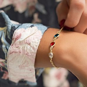 Create Your Own Personalised Family Birthstone Bracelet in Gold