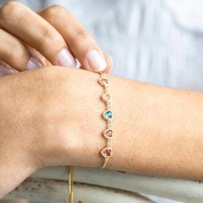 Personalised slider Chain Family heart birthstone Bracelet