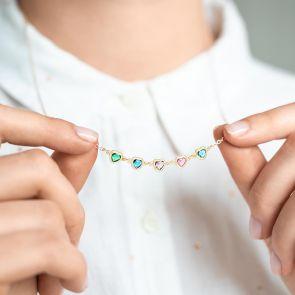 Swarovski Crystal Heart Birthstone Personalised Family Necklace