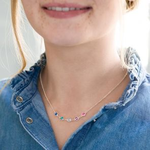 family birthstone necklace in rose gold