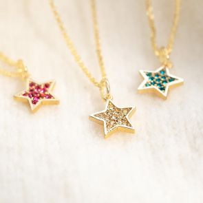 Gold Plated Birthstone Star Charm Necklaces in Diamond, Ruby and Topaz