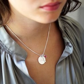 Disc Bar and Birthstone Sterling Silver Slider Necklace