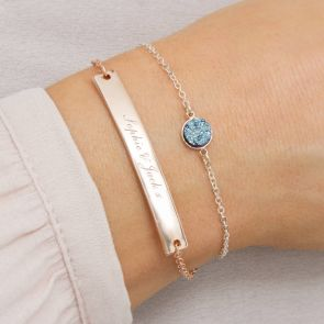 Personalised Druzy And Cherie Bar Bracelet Set