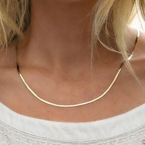 Gold Edie Personalised Herringbone Chain Necklace