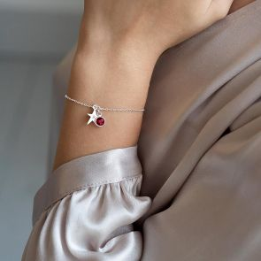 Personalised Star Initial Bracelet with Birthstone Charm