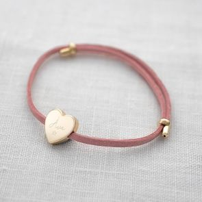 Pink Suede Bracelet with Gold Plated Heart Charm Personalised with name and Illustration