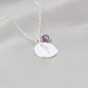 Sterling Silver Birth Flower Disc Personalised Necklace