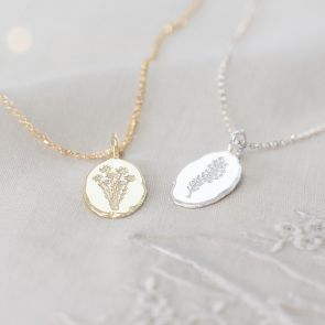 Embossed Birthflower Oval Personalised Necklace