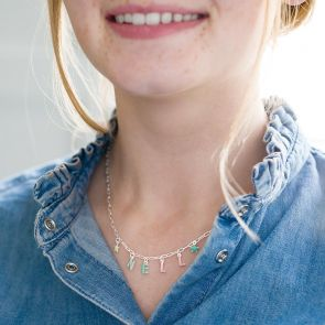 silver plated paperclip chain necklace with enamel letter charms