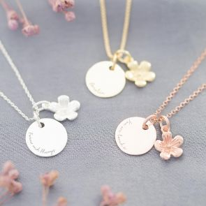 disc and flower charm necklace in silver, gold and rose gold