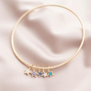 champagne gold plated bangle with star swarovski crystal birthstone charms