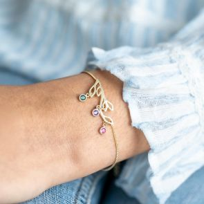 Gold Tree Branch Bracelet with hanging Birthstone Charms