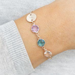 Initial Disc Family Birthstone Personalised Bracelet