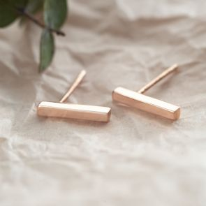 Rose Gold Plated Sterling Silver Contemporary Bar Earrings