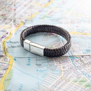 Braided leather bolo personalised bracelet