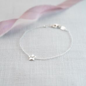 Mini Sterling Silver Star Button Bracelet