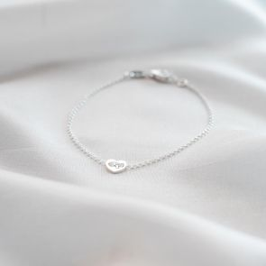 Mini Sterling Silver Heart Button Bracelet