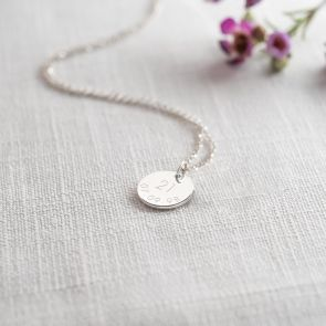 Disc Charm necklace in Silver Personalised with Age and Date Engraving