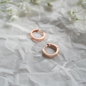 Rose Gold Plated Sterling Silver Huggie hoop Earrings