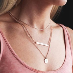 Layered Style Necklace with Illustrated Disc and Message Bar in Rose Gold Plated