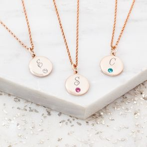 Dotty Initial Disc Personalised Birthstone Necklace