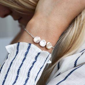 Alida Textured Triple Disc Slider Personalised Bracelet