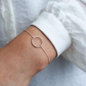 Personalised Sterling Diamond Cut Circle Bracelet