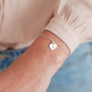 Sterling Silver hidden initial heart personalised bracelet