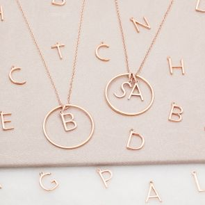Rose Gold Plated Sterling Silver Halo and Contemporary Style Initial Charm