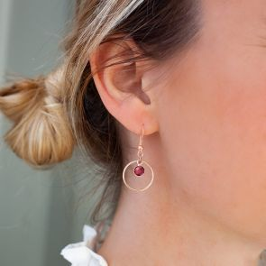 Drop Hoop Earrings with Personalised Birthstone