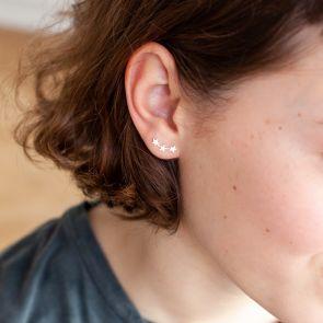 Multi Star Climber Sterling Silver Earrings
